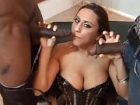 Busty latina enjoys sucking and fucking two big black cocks