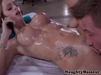Massage parlor babe getting assfingered