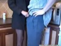 Kitchen sex with neighbor ends with cum in mouth