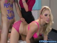CFNM blondes using guy as sex toy