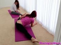Flexible lesbian seduced by yoga babe