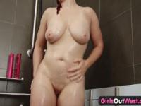 Busty amateur milf masturbates in the shower