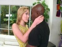 Petite blonde giving blowjob and deep throat to black neighbor
