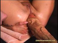 Hard action dildo penetrations with odd huge objects
