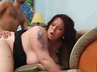 BBW with huge tits fucked on her couch