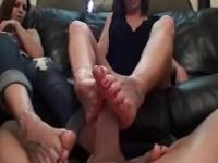 Daughter teach mother how to do footjob