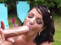 British milf Amanda X sucks monster cock & gets facial