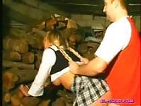 Schoolgirl fucked in a cabin