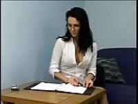 Group of secretaries have their feet sucked by submissive guy