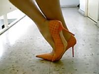 Tan Pantyhose Sexy Stiletto High Heels Pumps Walking