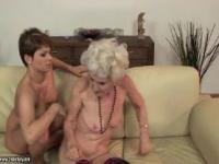 Licking the hairy cunt of her horny granny