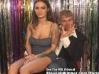 Hot Lips Angelina Valentine Blowing Fan!
