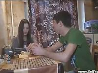 Chesty european brunette teen gets paid