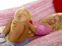 Naughty slovakian blonde teen pussy licked and fingered