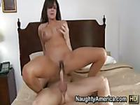 Outdoor blowjob with big boobed brunette