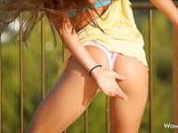 Public tease from gorgeous fit college teen