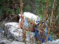 The horny outdoor quickie with a teen girlfriend caught by voyeur
