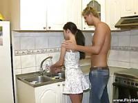 Anal sex in kitchen