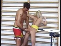 Hot tiny blonde girl anal in the gym