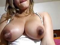 Huge nipples on natural big breast played with