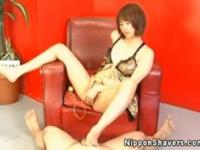 Shaved japanese pussy in sexy lingerie