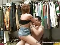 A housewife having sex in the dressing room