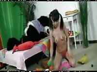 Sweet young girl gets fucked wildly by a panda