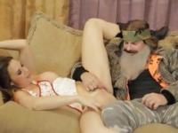 Bearded dude fucks Chanel Preston's pussy