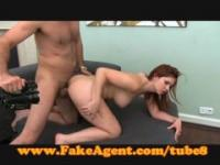 FakeAgent Fire kissed amateur takes creampie in casting