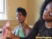Two ebony nubian sluts wank white cock