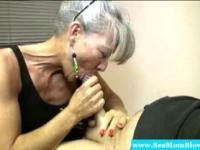 Horny granny eagerly dick gagging