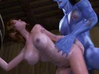 Animated slut gets huge blue dick