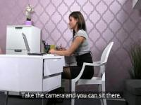 Female agent with camera fucking guy in office