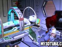 Sexy 3D Redhead Babe immer von einem Alien gefickt
