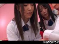 Japanese school sweeties giving their first handjob aft