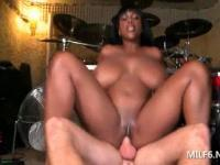 Ebony MILF in huge tits riding and blowing teen hard pe