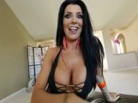 Brunette with huge tits Romi Rain gives titsjob POV