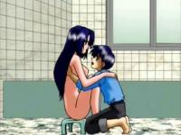 Anime hottie turned on after shower jumps on a teen guy