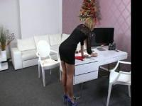 Female agent gives footjob in office to chubby amateur