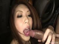 Horny Rinka steams up the windows in a car sucking a co