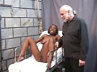 Black girl tortured by an old man