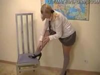 chubby slut schoolgirl in seamless pantyhose and white knee high