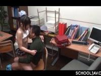 Sexy Japanese school girl humping coeds dick on a chair