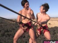 Girls Out West - Hairy lesbian amateurs climbing the rock