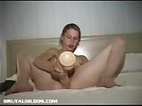 Skinny franco-canadian girl with two thick dildos
