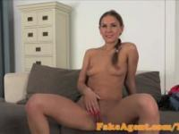 FakeAgent Cute babe takes First Time Creampie in Office