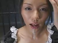 Asian Maid gets it all her mouth