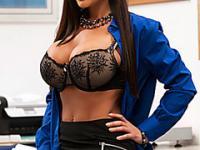 Sexy lingerie teacher fucks students fat cock in class