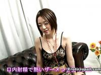 Japanese cutie gets excited to suck a massive cock
