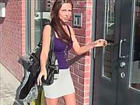 Hot amateur brunette does a naughty public sextape